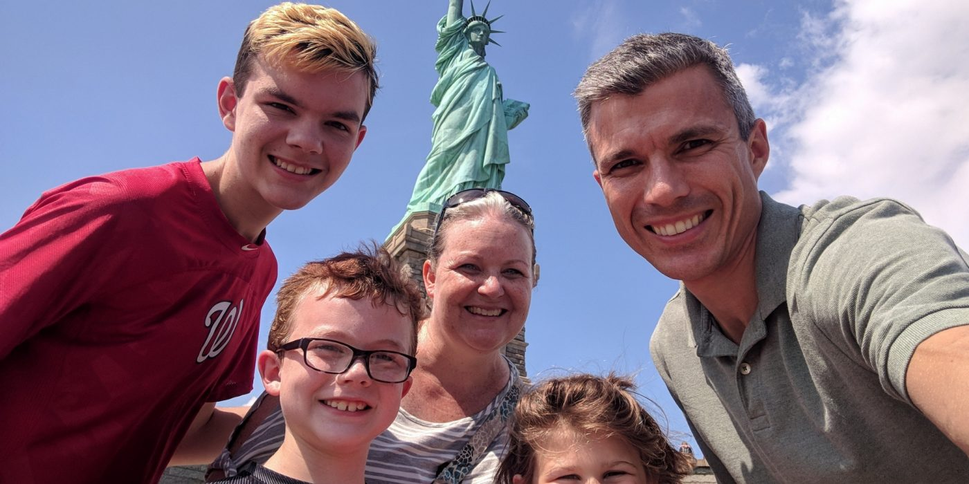 Trouteaud family at the Statue of Liberty