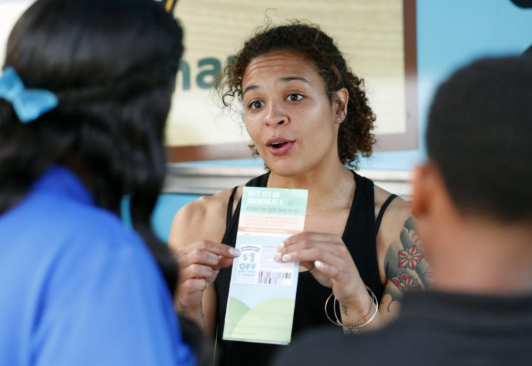 Woman leading a voter registration drive